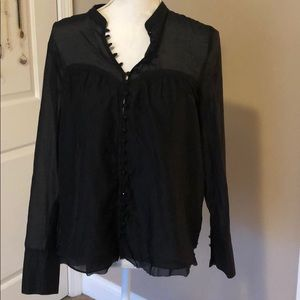 Free People Black Shirt with Buttons